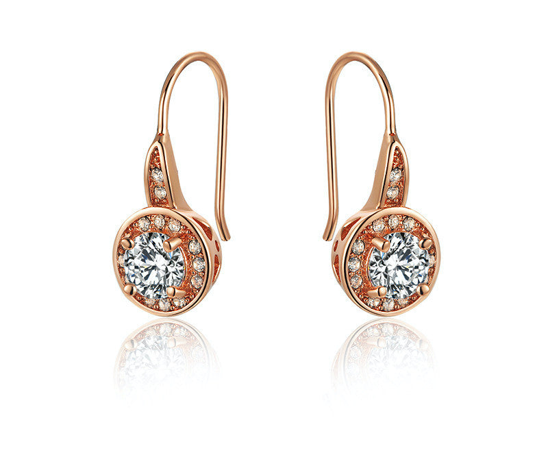 18K Rose Gold Plated Daniella Earrings with Simulated Diamond