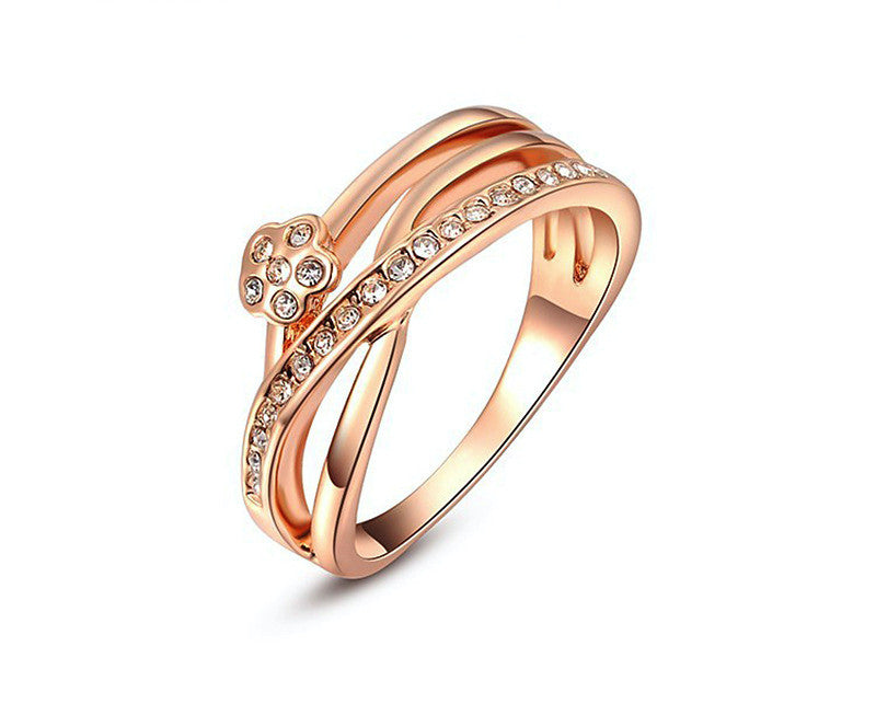 18K Rose Gold Plated Daphne Ring with Simulated Diamond