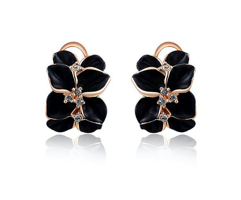 18K Rose Gold Plated Delilah Earrings with Simulated Diamond