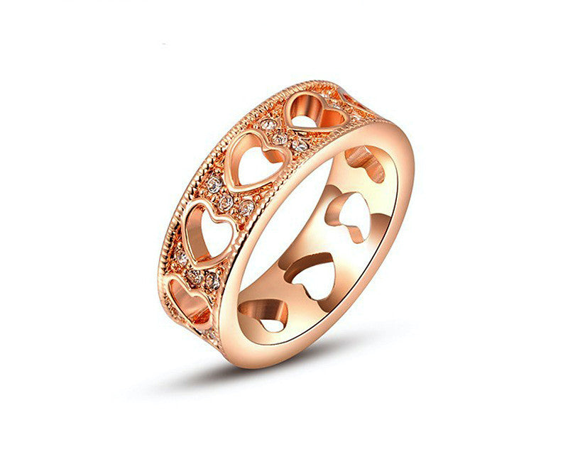 18K Rose Gold Plated Diana Ring with Simulated Diamond