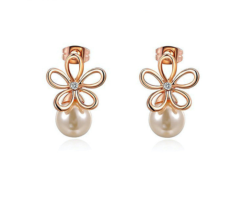 18K Rose Gold Plated Eden Earrings with Simulated Diamond