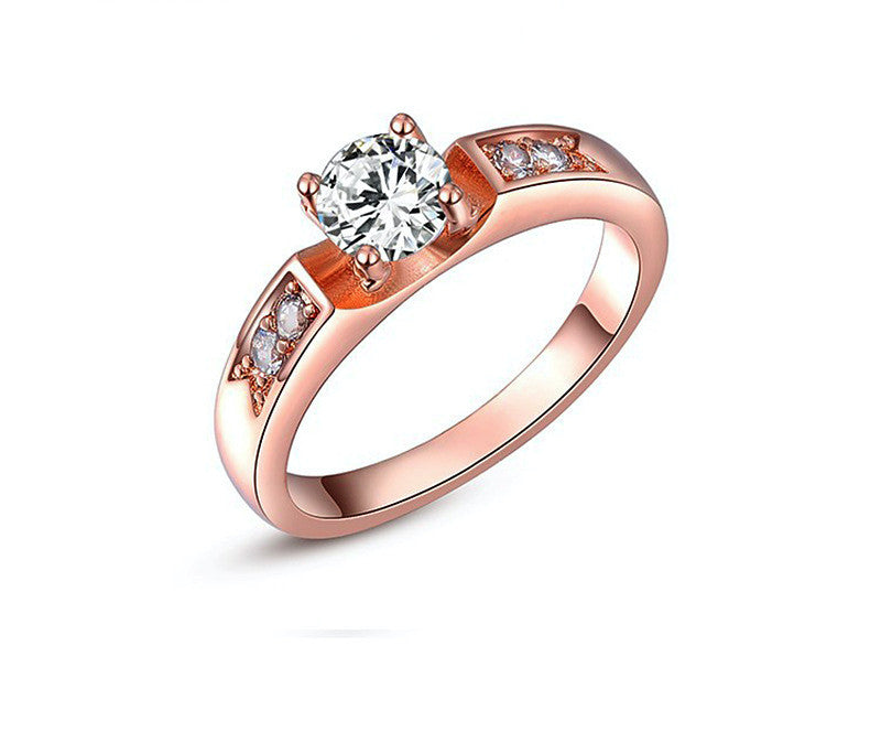 18K Rose Gold Plated Eleanor Ring with Simulated Diamond