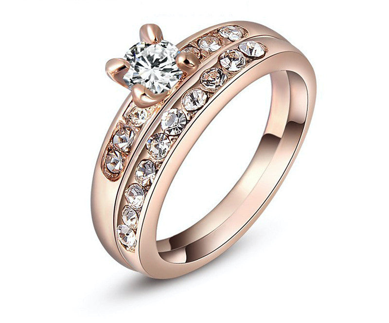 18K Rose Gold Plated Elizabeth Ring with Simulated Diamond