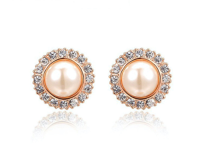 18K Rose Gold Plated Emilia Earrings with Simulated Diamond