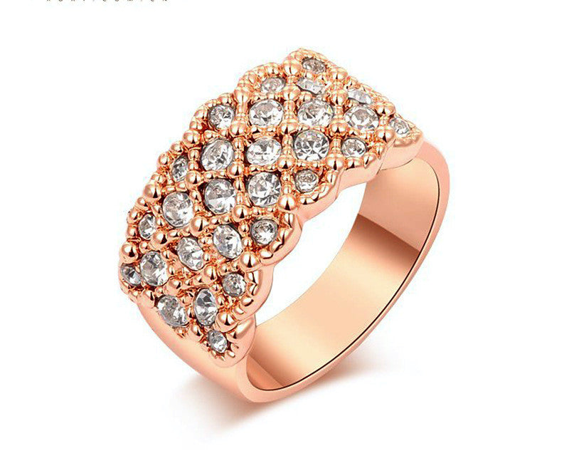 18K Rose Gold Plated Emily Ring with Simulated Diamond
