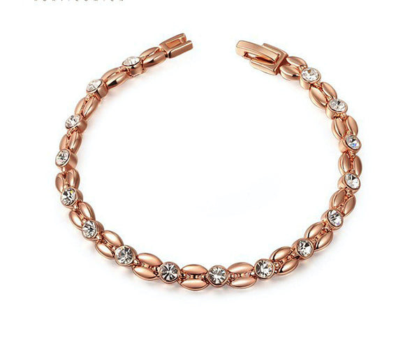 18K Rose Gold Plated Emma Bracelet with Simulated Diamond
