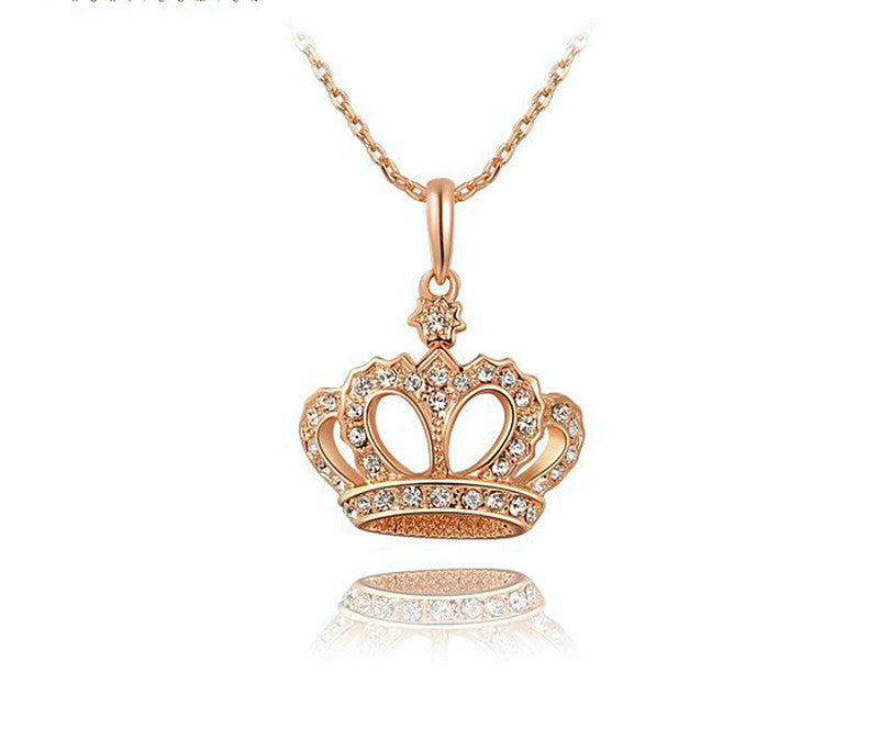 18K Rose Gold Plated Emma Necklace with Simulated Diamond