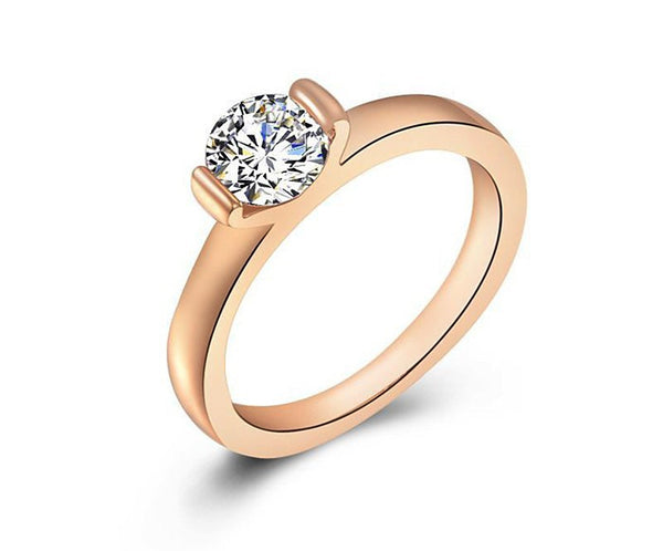 18K Rose Gold Plated Emma Ring with Simulated Diamond