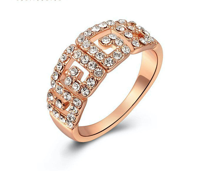 18K Rose Gold Plated Eva Ring with Simulated Diamond
