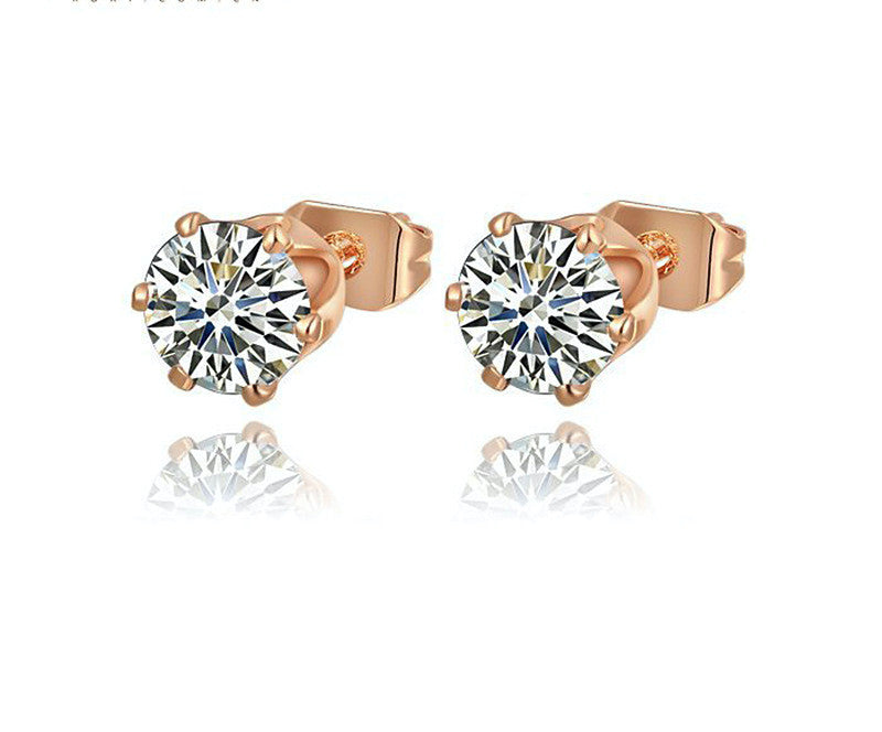 18K Rose Gold Plated Evelyn Earrings with Simulated Diamond