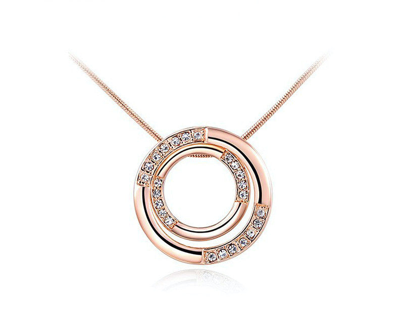 18K Rose Gold Plated Evelyn Necklace with Simulated Diamond