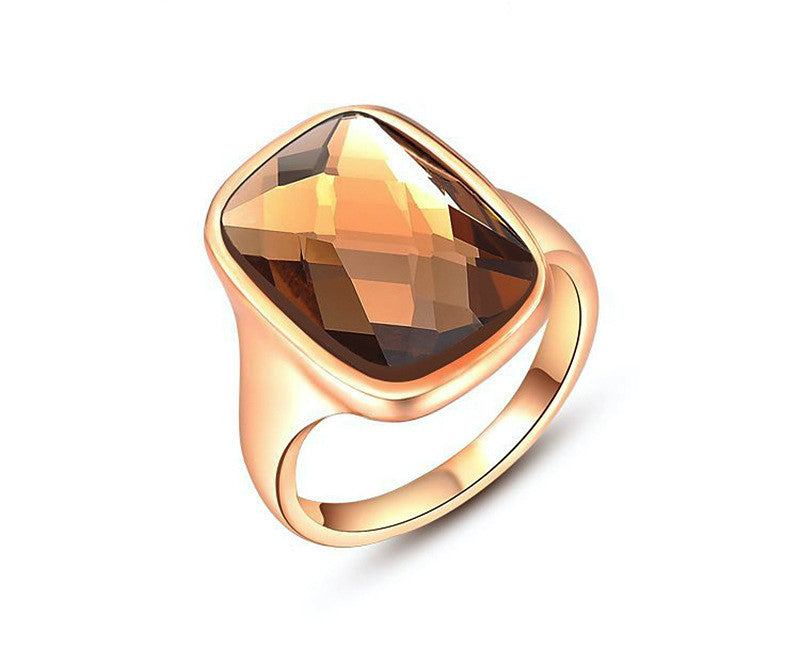18K Rose Gold Plated Faith Ring with Simulated Diamond