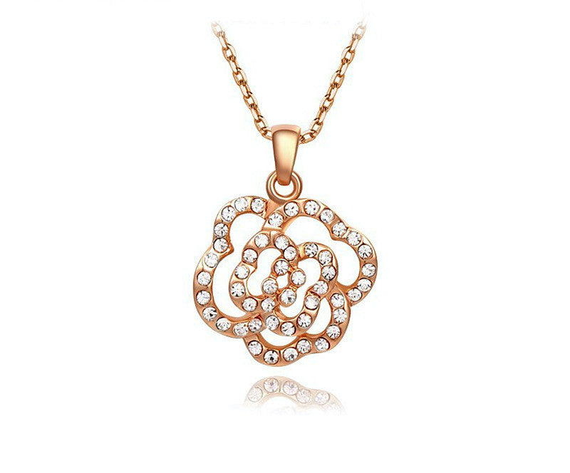 18K Rose Gold Plated Gemma Necklace with Simulated Diamond