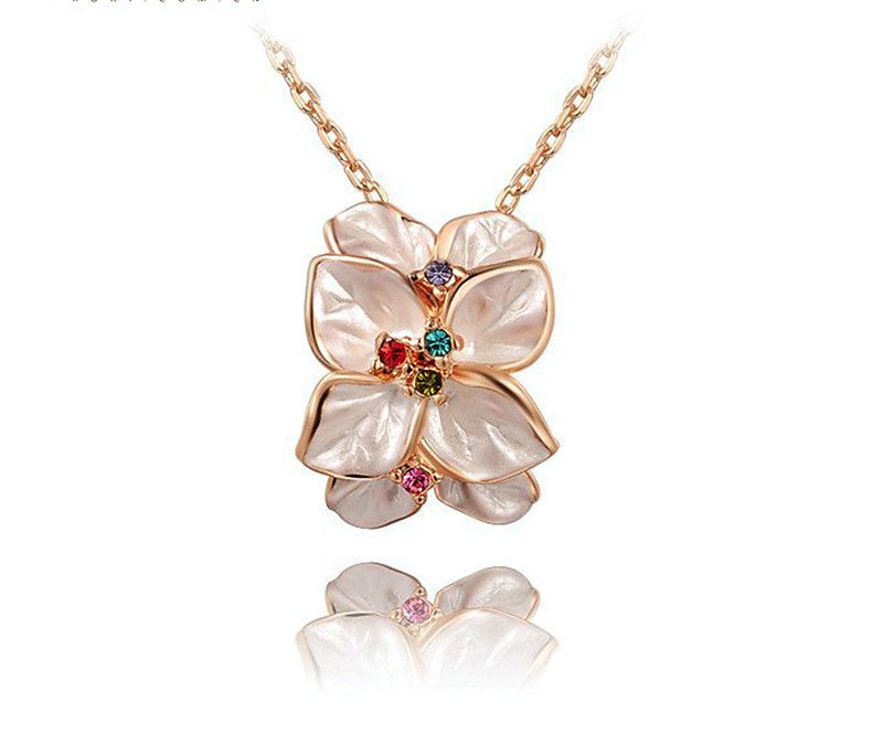 18K Rose Gold Plated Hannah Necklace with Simulated Diamond