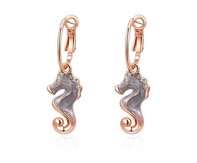 18K Rose Gold Plated Harley Earrings with Simulated Diamond