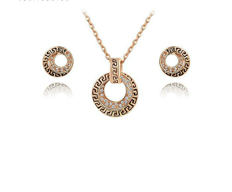 18K Rose Gold Plated Harper Necklace and Earrings Set with Simulated Diamond