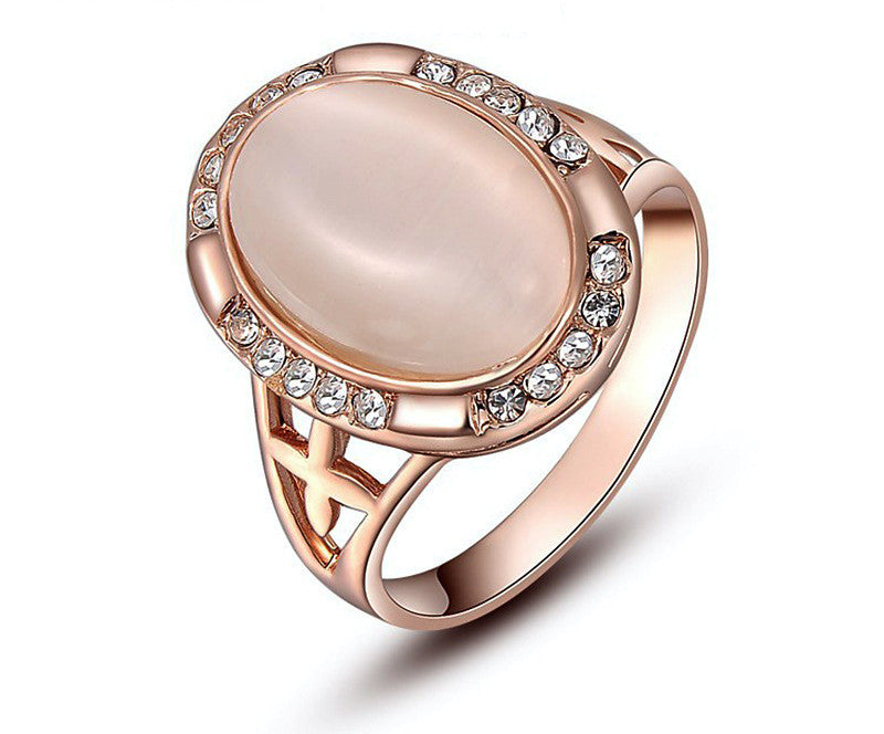 18K Rose Gold Plated Harper Ring with Simulated Diamond