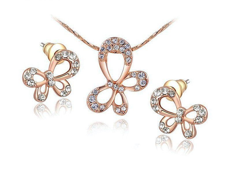 18K Rose Gold Plated Hazel Necklace and Earrings Set with Simulated Diamond