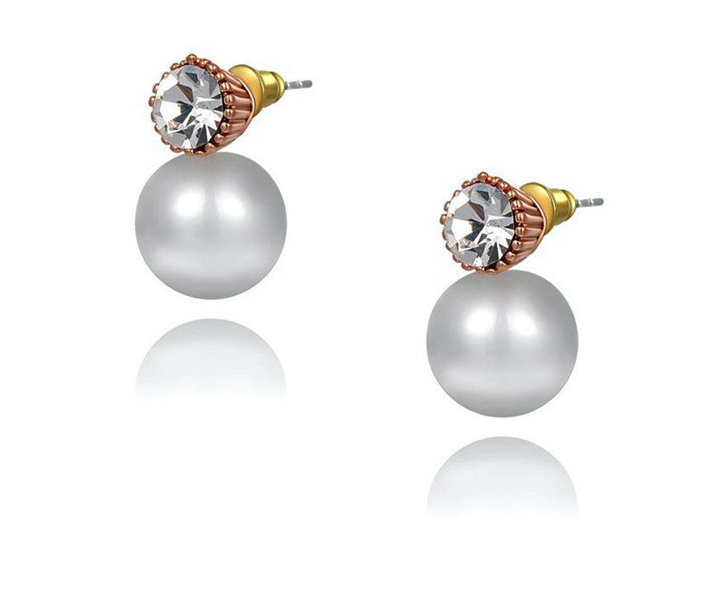 18K Rose Gold Plated Helen Earrings with Simulated Diamond