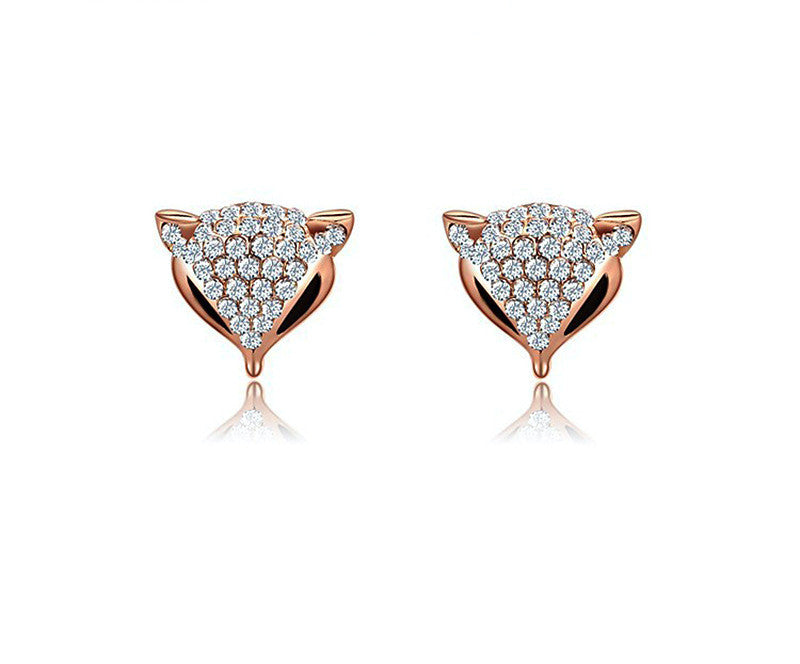 18K Rose Gold Plated Holly Earrings with Simulated Diamond