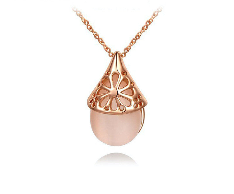 18K Rose Gold Plated Hope Necklace with Simulated Diamond