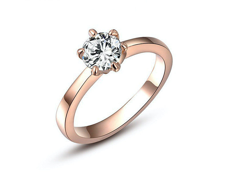 18K Rose Gold Plated Isabelle Ring with Simulated Diamond