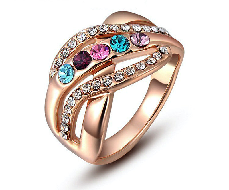 18K Rose Gold Plated Jade Ring with Simulated Diamond