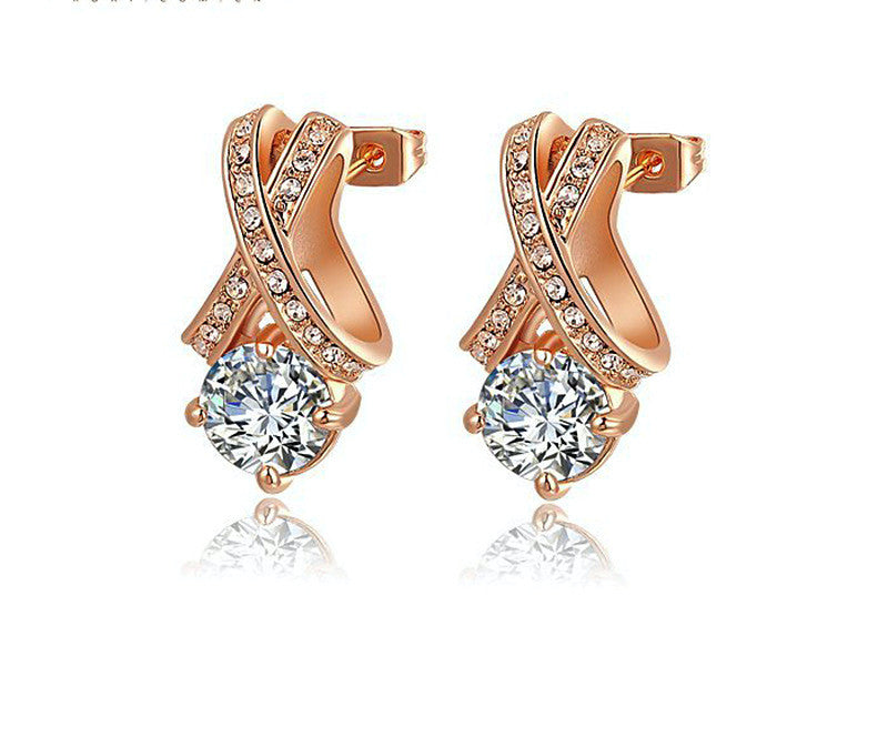 18K Rose Gold Plated Jasmine Earrings with Simulated Diamond