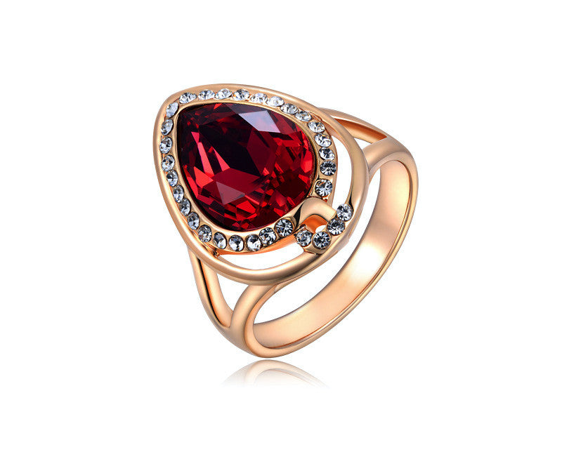 18K Rose Gold Plated Jaylah Ring with Simulated Diamond