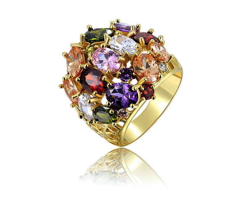 18K Rose Gold Plated Jazmin Ring with Simulated Diamond