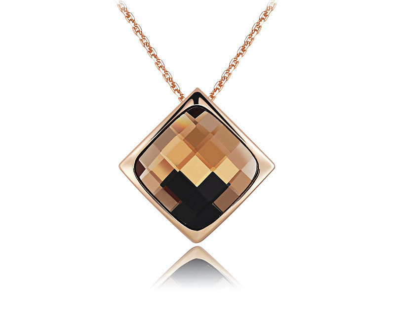 18K Rose Gold Plated Jenna Necklace with Simulated Diamond