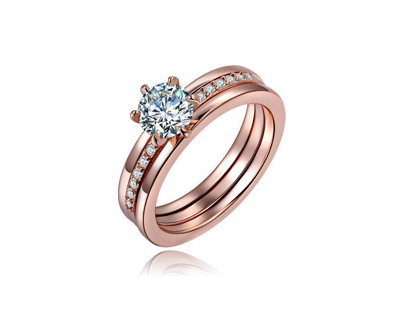 18K Rose Gold Plated Jocelyn Ring with Simulated Diamond