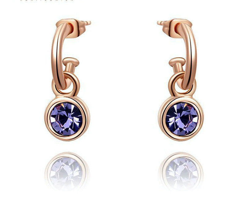 18K Rose Gold Plated Julia Earrings with Simulated Diamond