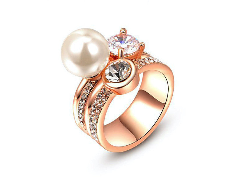 18K Rose Gold Plated Juliana Ring with Simulated Diamond