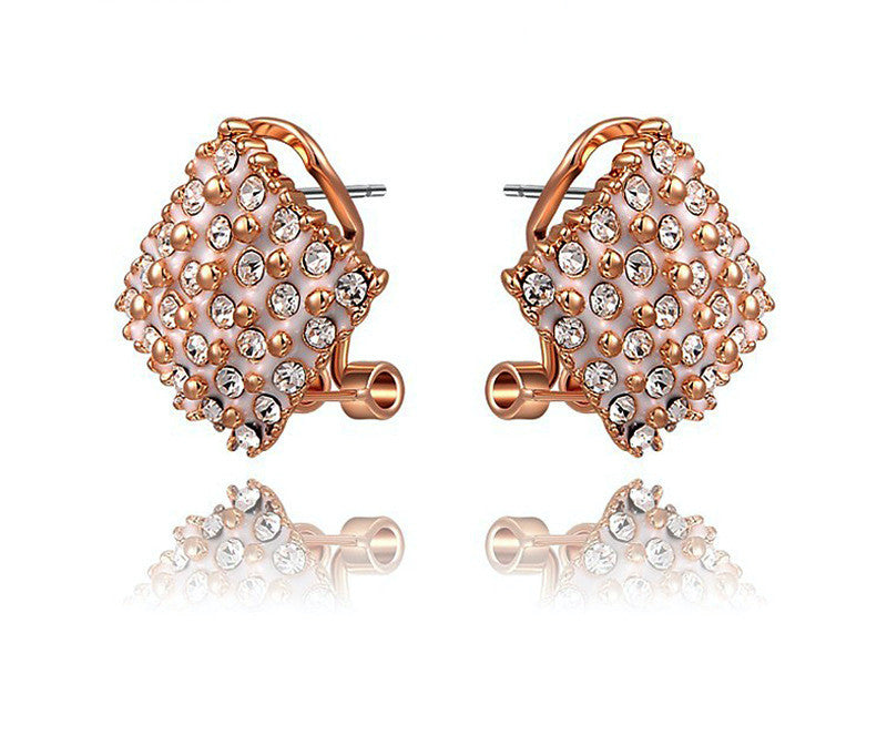 18K Rose Gold Plated Juliette Earrings with Simulated Diamond