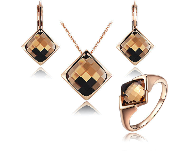 18K Rose Gold Plated Kathryn Necklace, Earrings, Ring Set with Simulated Diamond