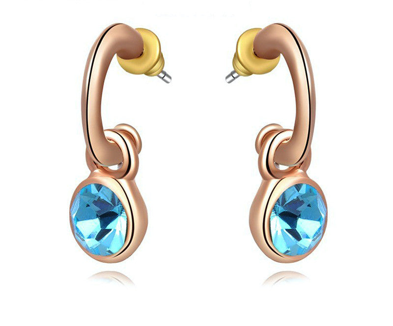 18K Rose Gold Plated Katie Earrings with Simulated Diamond