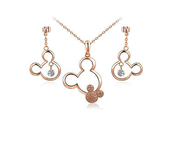 18K Rose Gold Plated Kayla Necklace and Earrings Set with Simulated Diamond