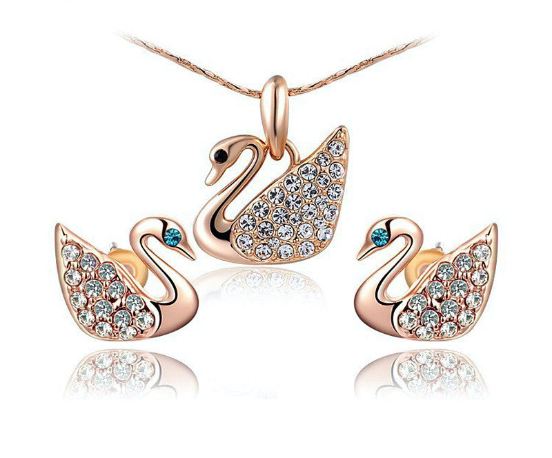 18K Rose Gold Plated Khloe Necklace and Earrings Set with Simulated Diamond