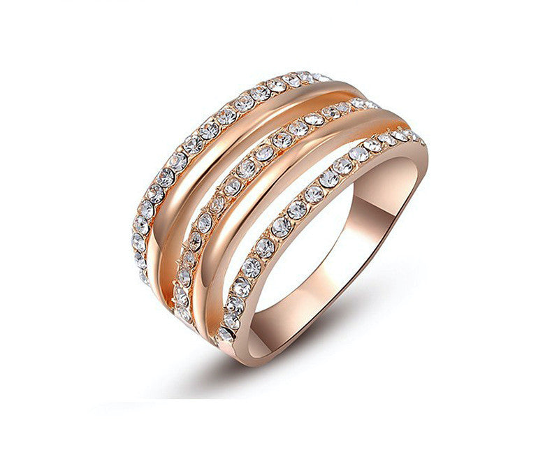 18K Rose Gold Plated Kinsley Ring with Simulated Diamond