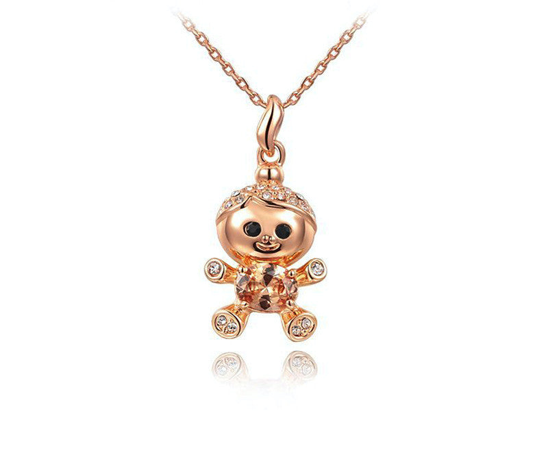 18K Rose Gold Plated Kyla Necklace with Simulated Diamond