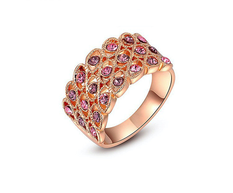 18K Rose Gold Plated Lana Ring with Simulated Diamond