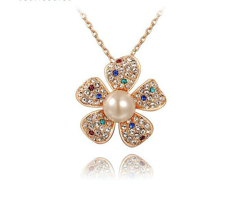 18K Rose Gold Plated Lauren Necklace with Simulated Diamond