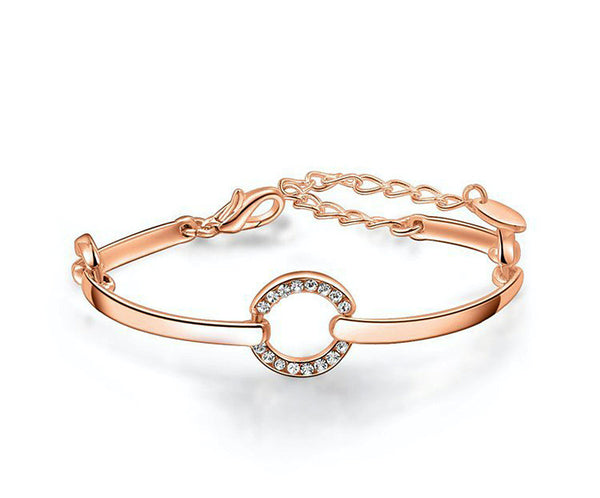 18K Rose Gold Plated Leah Bracelet with Simulated Diamond