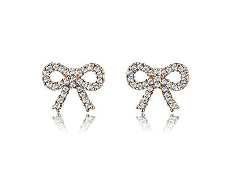 18K Rose Gold Plated Liberty Earrings with Simulated Diamond