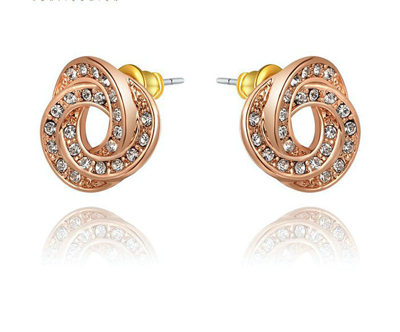 18K Rose Gold Plated Lila Earrings with Simulated Diamond