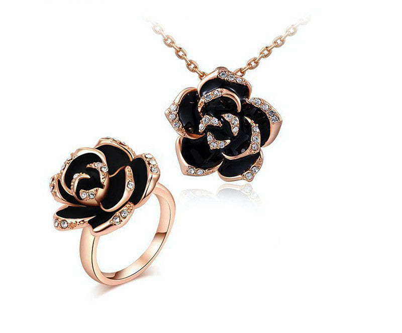 18K Rose Gold Plated Lila Necklace and Ring Set with Simulated Diamond