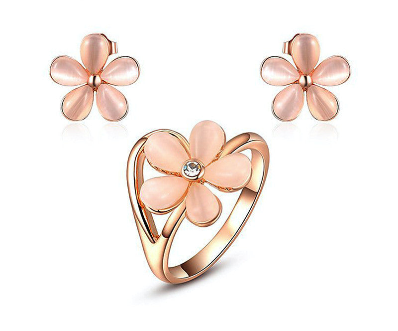 18K Rose Gold Plated Lilian Earrings and Ring Set with Simulated Diamond
