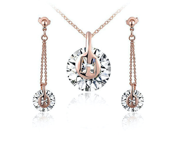 18K Rose Gold Plated Lillian Necklace and Earrings Set with Simulated Diamond
