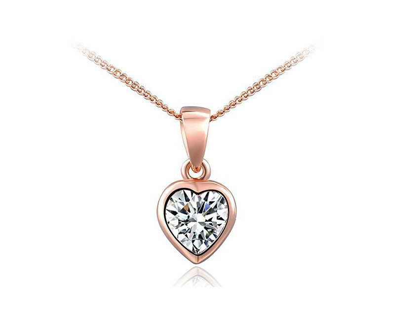 18K Rose Gold Plated Lily Necklace with Simulated Diamond